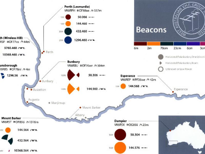 WA VHF Group Beacon Map 2012